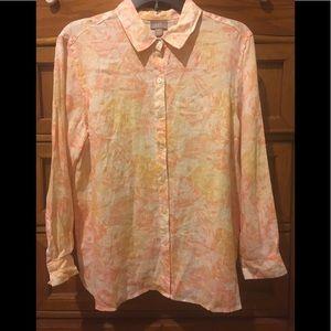 J. Jill pink/orange flora 100% linen blouse